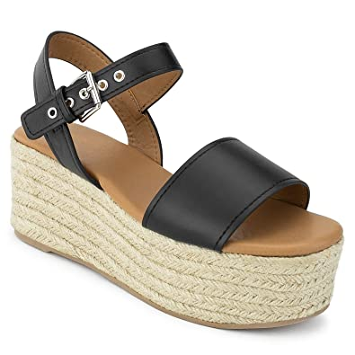 440a63cb566 RF ROOM OF FASHION Open Toe Ankle Strap Espadrille Platform Wedge Black  Size.6