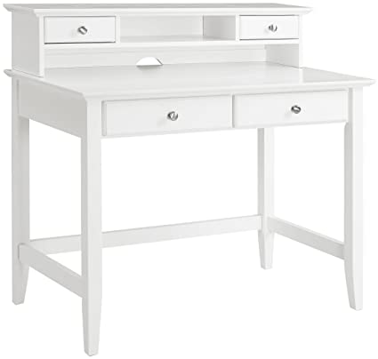 Crosley Furniture Kf65004wh Campbell Writing Desk With Hutch White