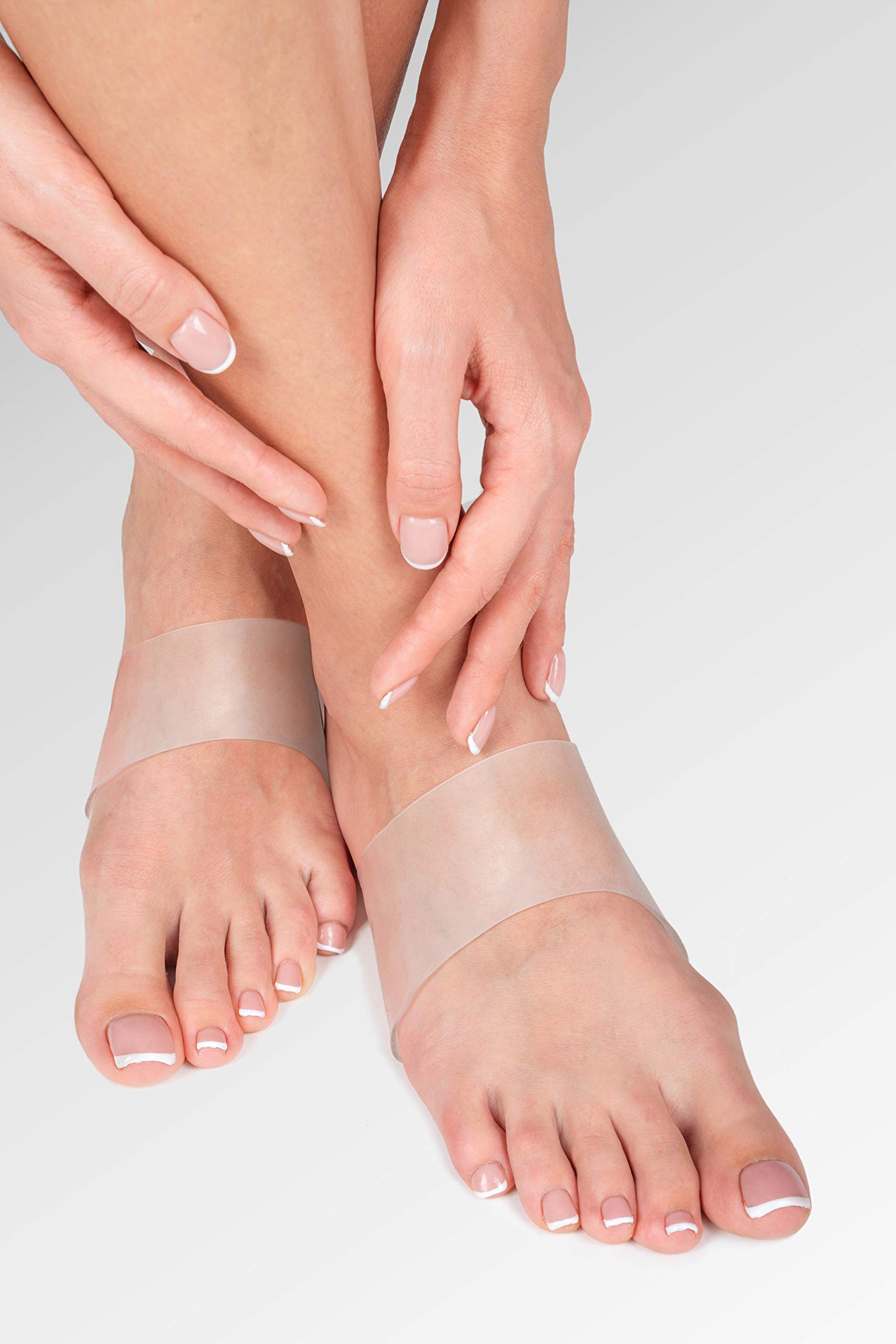 Gel Arch Support Set - Soft Silicone Clear Reusable Arch Sleeves for Flat Foot Pain Relief Plantar Fasciitis Support Cushioned Arch and Heel Spurs - Women Men - Large M5-13 / W7-14 by BRISON (Image #3)