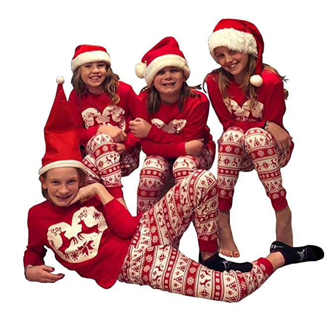 amazoncom family christmas pajamas set long sleeve deer printed sleepwear nightwear parent child family equipment matching clothing
