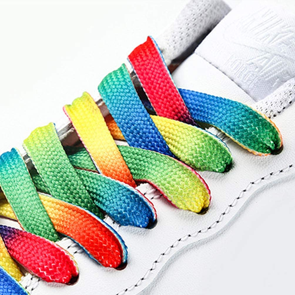 Color Aleatorio Happyyami 8 Pares de Cordones de Zapato Estampados Coloridos de 80 Cm Decorativos Planos Anchos Cordones para Zapatos de Lona Zapatillas Deportivas Zapatillas de Deporte