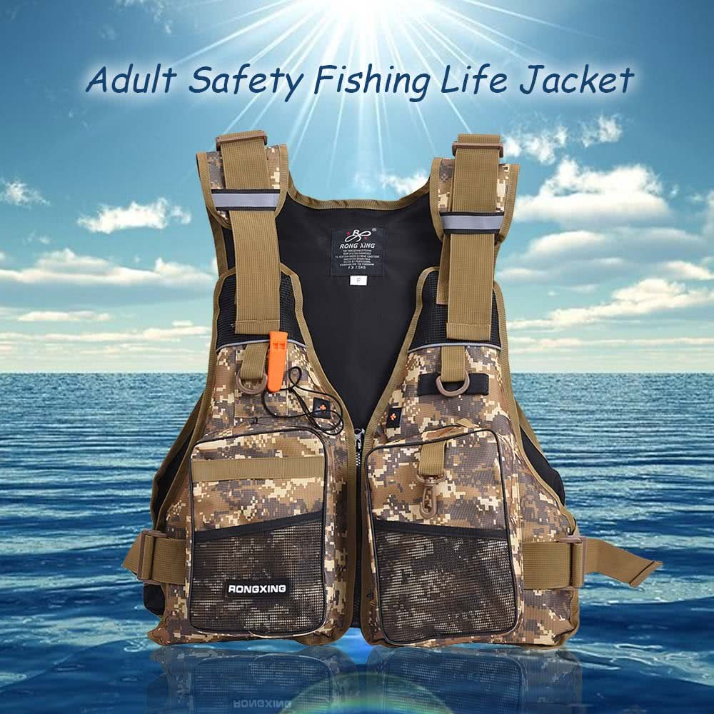 haoqin Professional Flotation Adult Safety Life Jacket Survival Vest Swimming Kayaking Boating Drifting with Emergency Whistle