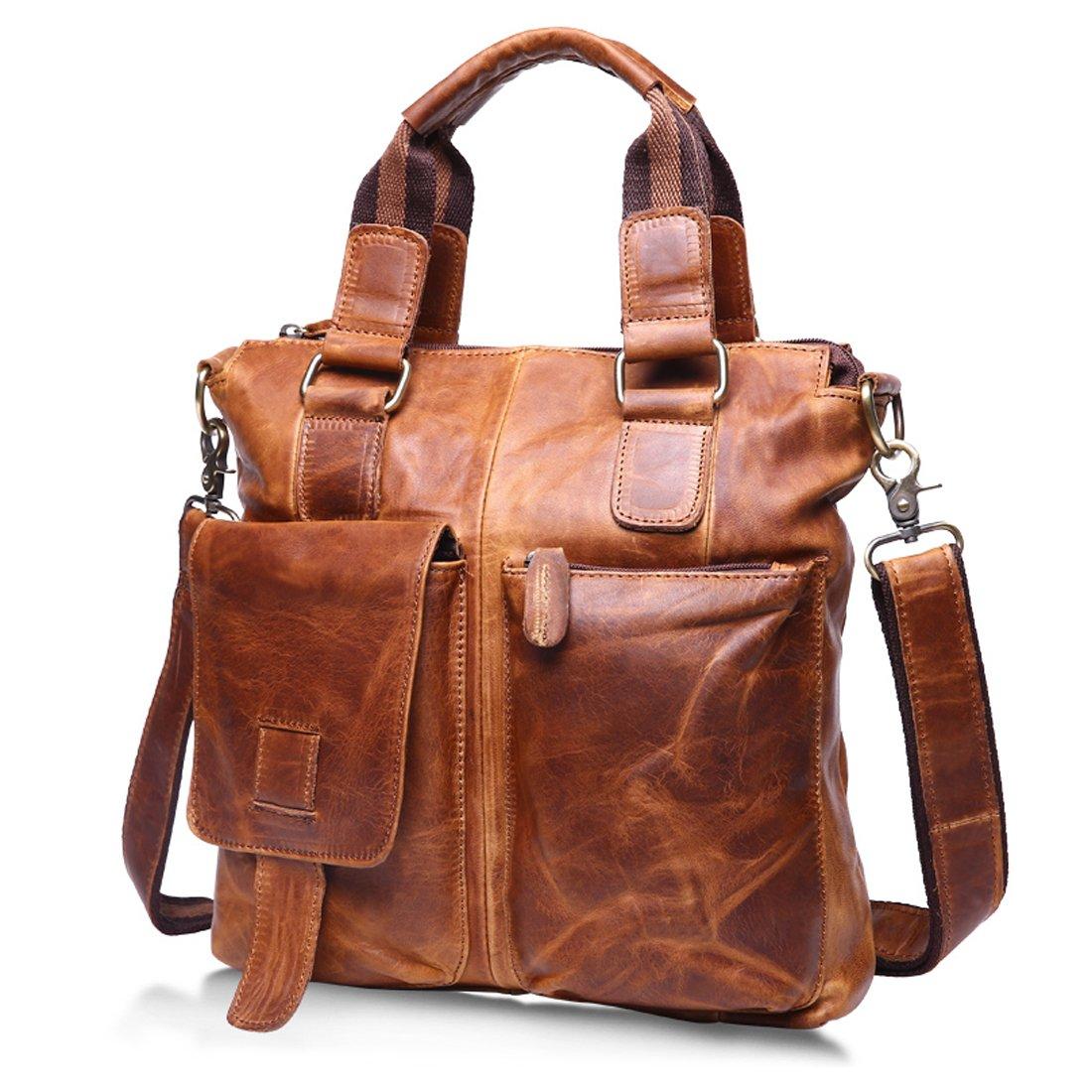Vintage Crazy Horse Genuine Leather Briefcase Handbag Shoulder Bag for Men light brown