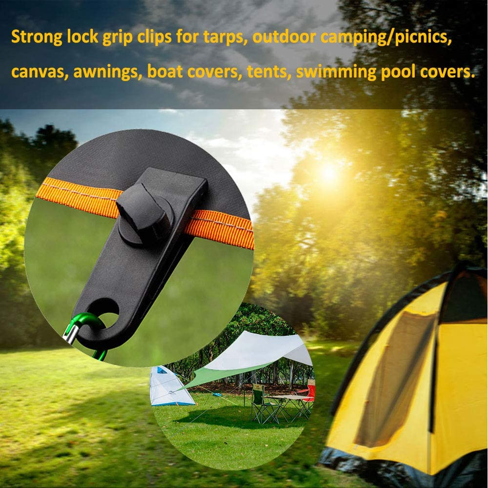 Tarp Clips Heavy Duty Lock Grip - Thumb Screw Tent Clamps for Tarps with Ball Bungee 8.5 Inch Tie Down Bungee Cords for Canopy, Awnings, Pergola, Canvas Covers, Outdoor Camping, Swimming Pool (20 PCS): Home & Kitchen