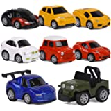 ToyerBee Car Toys-Die-cast Cars and Pull Back Vehicles for Toddlers & Kids (8 PCS)-Friction Powered-Bright Colored