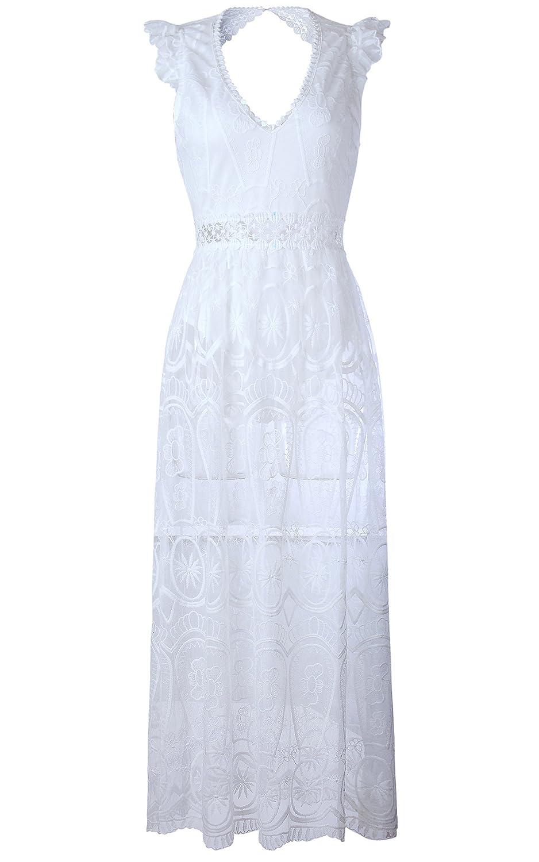 ECOWISH V Ausschnitt Sommerkleid Spitzenkleid Damen Rückenfrei Lange  Kleider Maxikleid Weiß XL: Amazon.de: Bekleidung