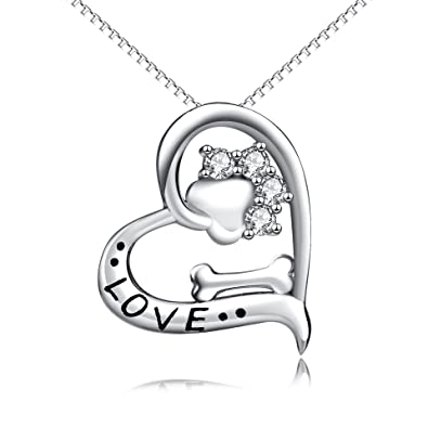Amazon yfn dog paw and bone 925 sterling silver women fashion yfn dog paw and bone 925 sterling silver women fashion pendant necklace 18quot paw aloadofball Images