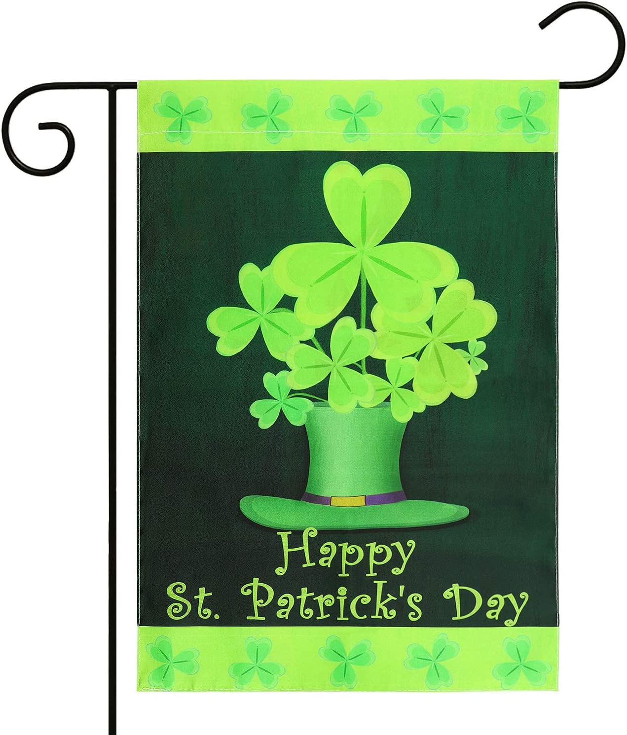 WATINC Happy St. Patrick's Day Garden Flag, Double Sided Clover House Flag, Shamrock Indoor Home Flag with Green Hat Pattern, Outdoor Three Leaves Polyester Decor Flag for Celebration 18.1 x 12.5 Inch
