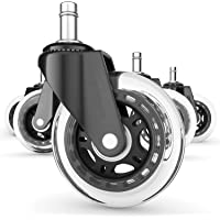 Office Chair Casters Wheels - Computer Chair MAT for Hardwood Floors Not Needed, Desk Rollerblade Chair Wheels with Soft Rubber Rollers. Best Chair Casters for Wood Floors(5 Pieces)