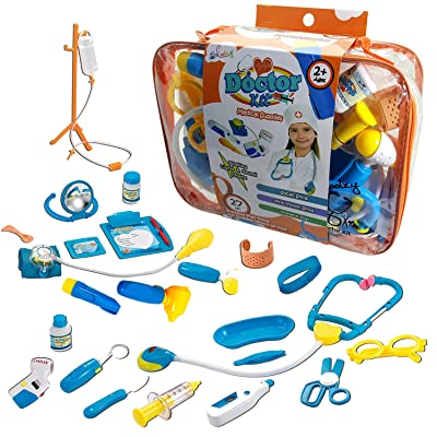Toy Doctor Kit for Kids - Skoolzy Hospital Pretend Play Set - Toddler Toys for 3 4 5 Year Old Boys and Girls - Montessori Dramatic Play Dr Dress Up Games Sounds & Lights Stethoscope: Toys & Games
