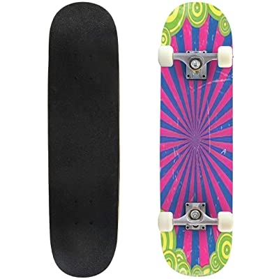 Classic Concave Skateboard Original Frame Photo Frame Groovy 1960s Style Vintage Background Longboard Maple Deck Extreme Sports and Outdoors Double Kick Trick for Beginners and Professionals : Sports & Outdoors