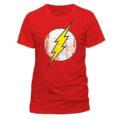fececca7b79 DC Comics - Camiseta de Flash con cuello redondo de manga corta para hombre,  Rojo