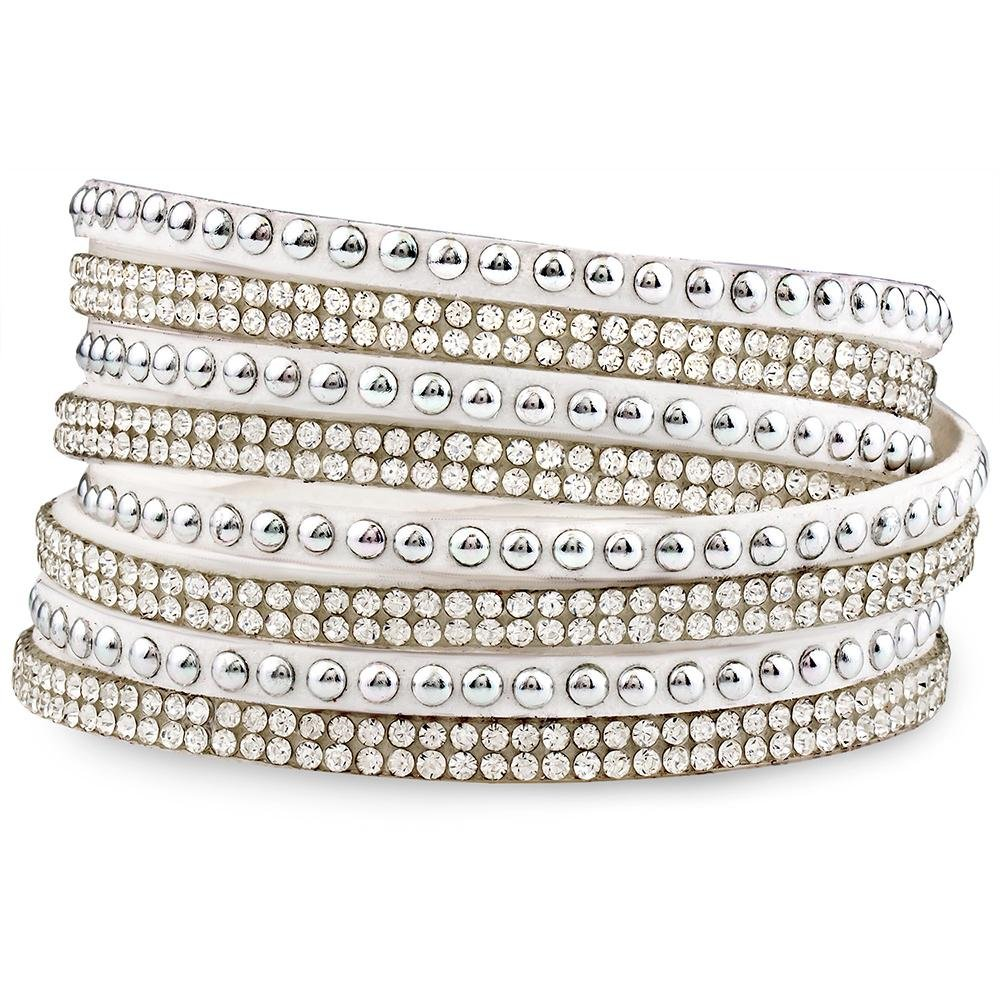 Silver & Post Women's White Genuine Leather Wrap Bracelet with Crystals from Swarovski Design, Burlap Gift Box Included