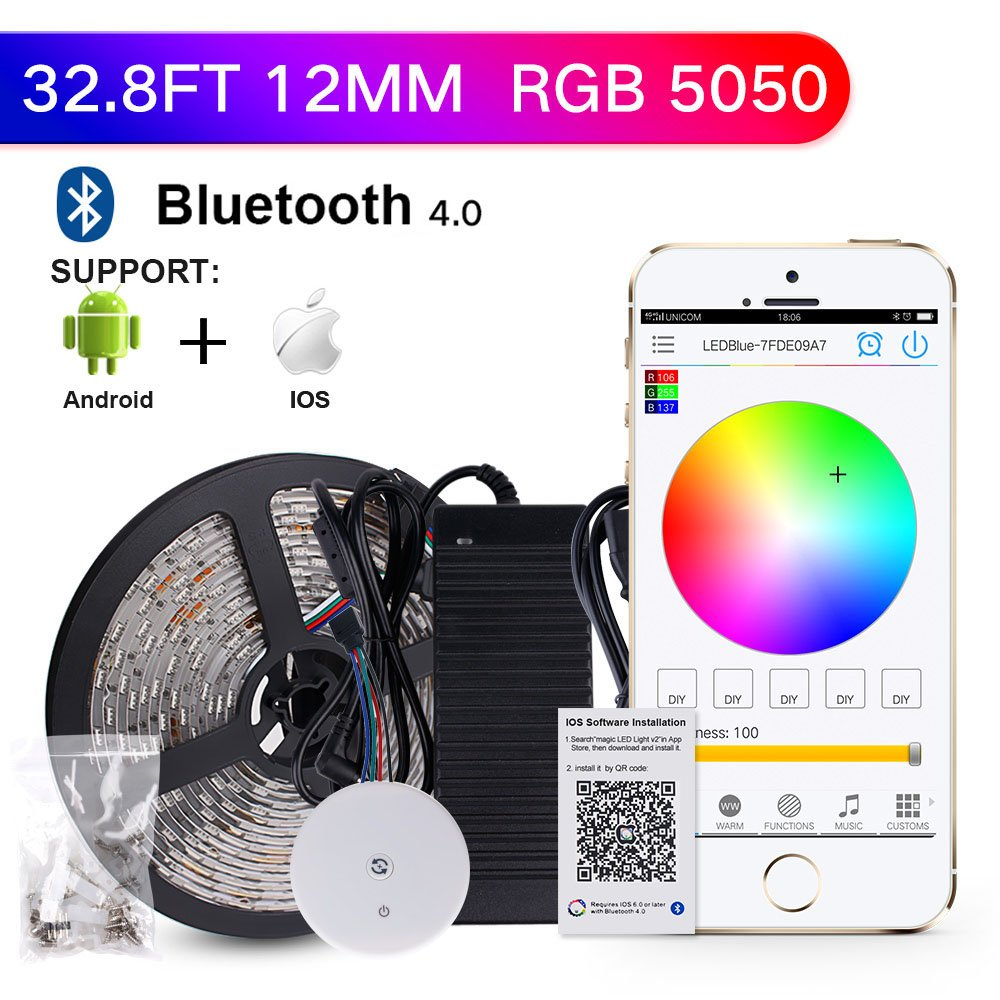 sanwo 32.8ft App LED Lights Strip Kit with 24V Power Adapter Bluetooth Controller, Strip Light Fixing Clips, Waterproof 5050 RGB 600LEDS Multicolored Supply for Home&Kicthen, IOS Android