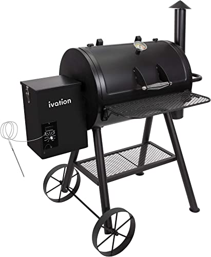 Ivation Automatic Wood Pellet Smoker Grill All-in-1 Electric Offset BBQ Smoker w Digital LCD Precise Temperature Control, Built in Meat Probe, Flame Tamer, Utensil Rack Grease Bucket