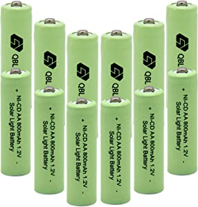 QBLPOWER 1.2V AA Ni-cd 800mAh Solar Light Rechargeable Batteries Cell for Garden/Lawn/Sidewalk Lamp (12PCS AA800mAh)
