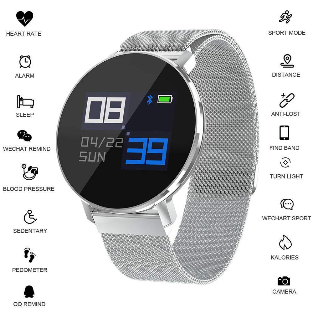 Morenitor Fitness Tracker HR, T5 Smartwatch with Slim Touch Screen and Metal Adjustable Band, Wearable Activity Tracker with Heart Rate Monitor Blood Pressure Monitor Gifts for Women Men Kids