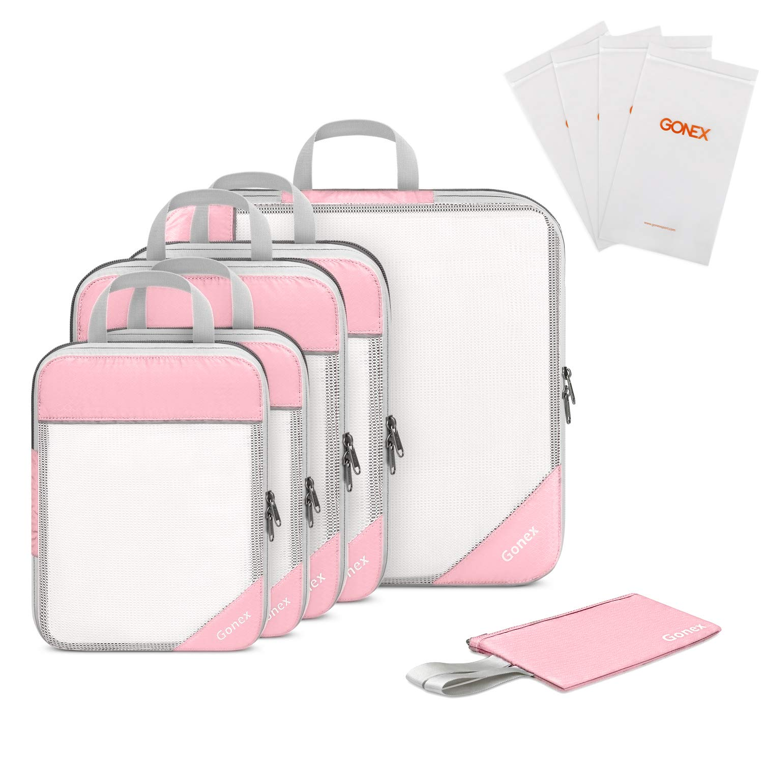 Gonex Compression Packing Cubes, Extensible Mesh Bags Organizers L+2M+2S with 4 Zipped Plastic Bags and Wallet Pink by Gonex