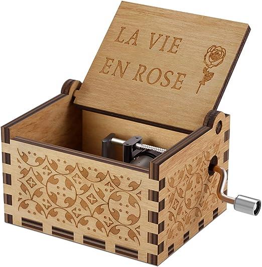 NNDUO Cajas de música de Madera – La Vie en Rose Caja de Madera Tallada a Mano