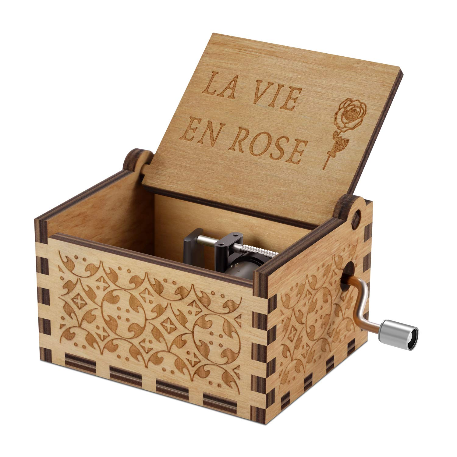 Wood Music Boxes- La Vie En Rose Carved Hand Crank Musical Box Wooden Classic Handmade Engraved Valentines Birthday Gift for Kids, Boys, Girls, Friends