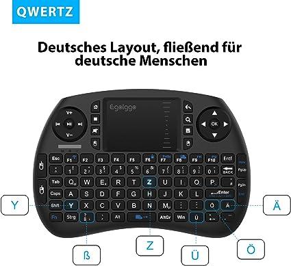 EgoIggo Mini teclado inalámbrico de 2.4GHz con ratón, touchpad y batería recargable para Smart TV, Android TV Box, PC, Mini PC, computadora portátil QWERTZ: Amazon.es: Electrónica