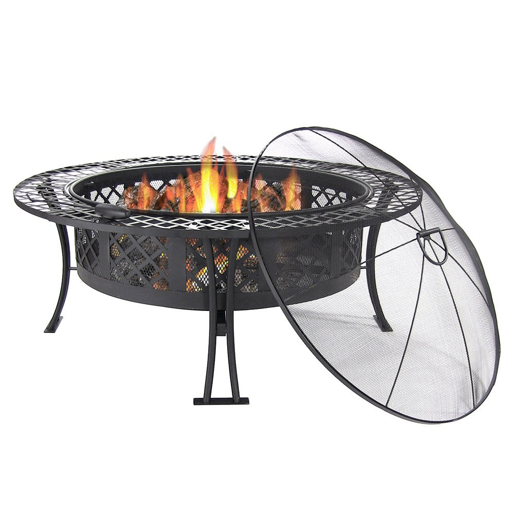 Sunnydaze 40 Inch Diamond Weave Large Fire Pit with Spark Screen