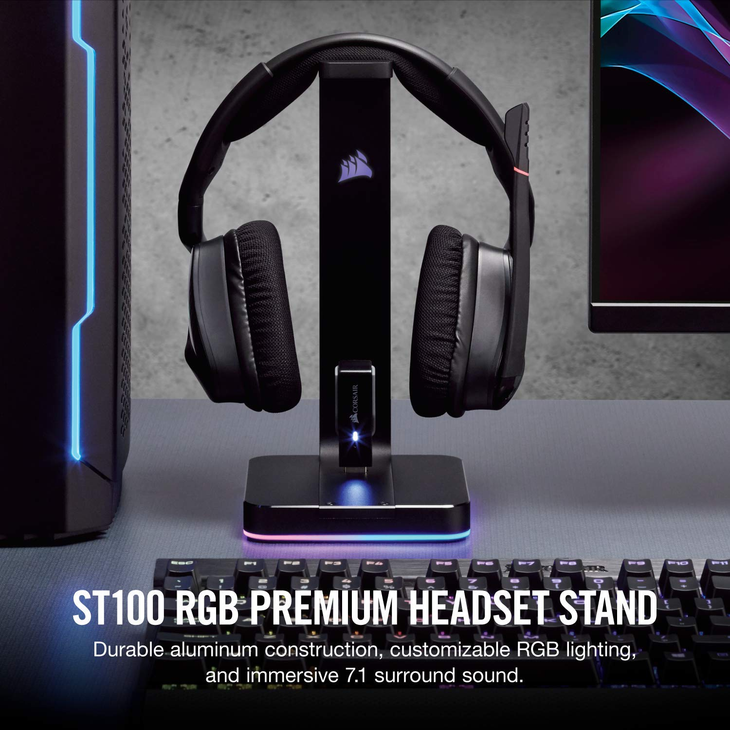 CORSAIR ST100 RGB Premium Headset Stand with 7 1 Surround Sound - 3 5mm and  2xUSB 3 0