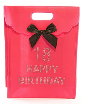 18th Big Birthday Happy Hot Pink Gift Bag With Diamantes