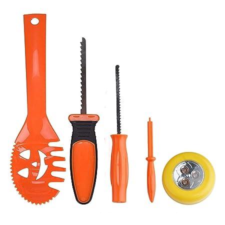 Halloween Calabaza Set – Juego de herramientas para tallar schnitzen, Juego de elementos decorativos con cuchillo, cuchara, rueda de broca, aguja y 9 ...