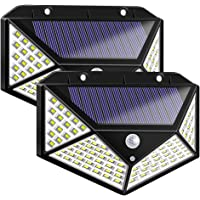 2-Pack Warmtaste 100-LED Solar Motion Sensor Light with 3 Modes with 270 Wide Angle for Garden