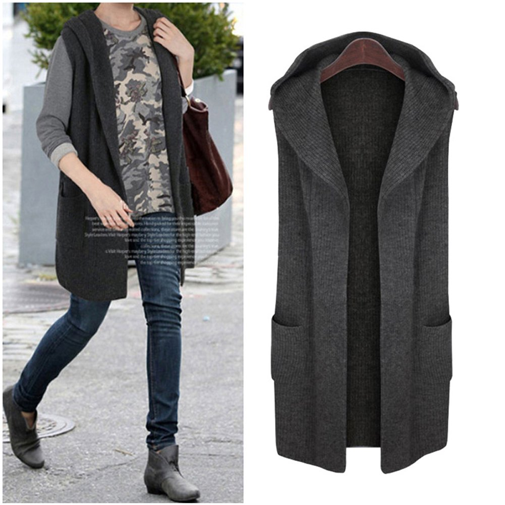 Women Open Front Knitted Sleeveless Hoodie Waistcoat Tops Cardigan Jacket Vest (X-Large, Dark Gray)