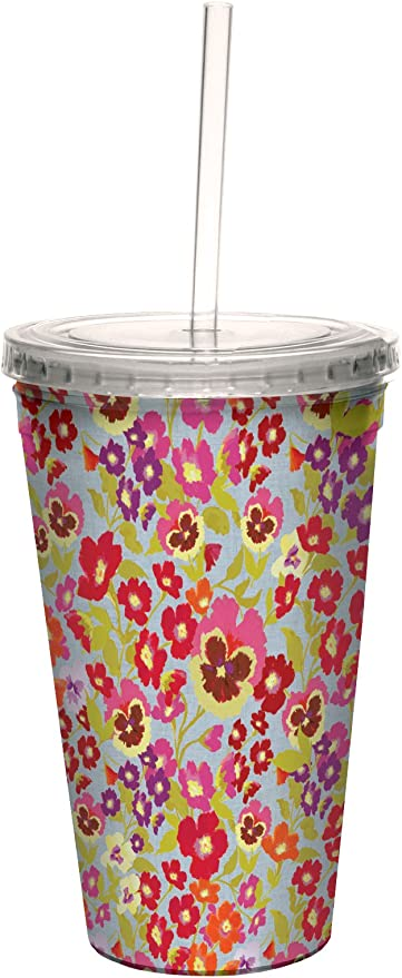 Tree-Free Greetings cc33738 Hedgerow Floral on Blue by Nel Whatmore Artful Traveler Double-Walled Cool Cup with Reusable Straw 16-Ounce