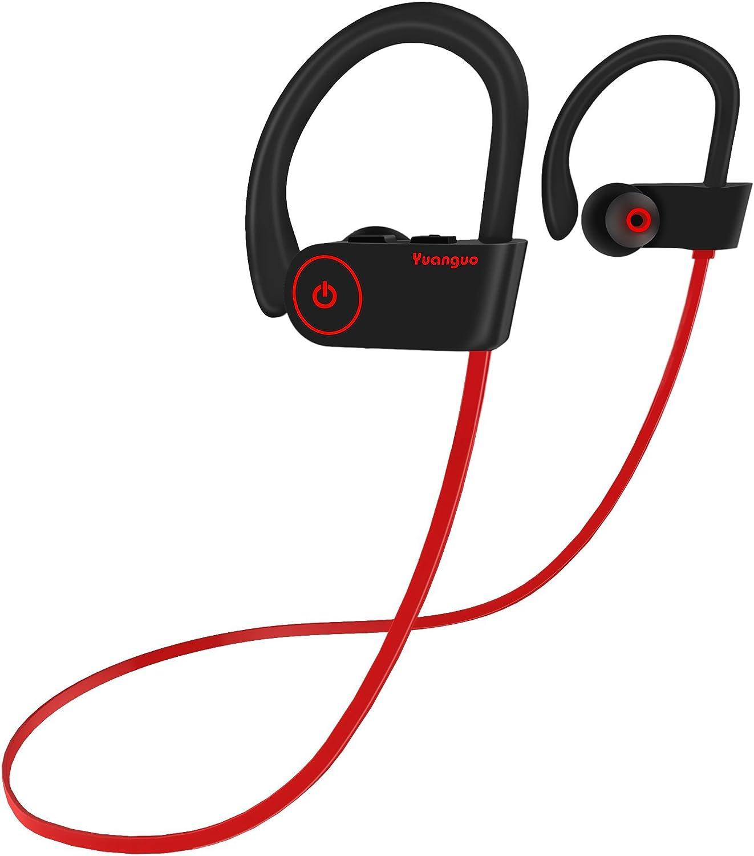 Auriculares Bluetooth 4.2 Inalambricos Yuanguo Cascos Deportivos In Ear Sonido Estéreo con Micrófono y Cancelación de Ruido CVC 6.0 &Tecnología APTX Impermeable IPX7 para Correr Andar en Bicicleta
