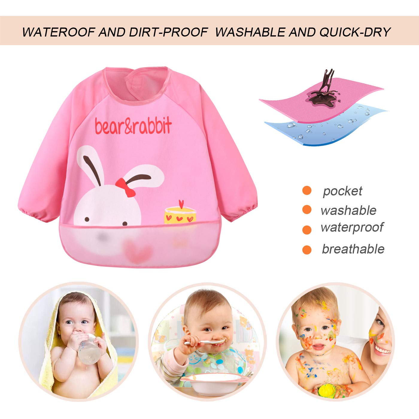 Coffee Bear 1-3Y Baby Lightweight Oil-proof Round Neck Cute Cartoon Eating Bibs Saliva Towel