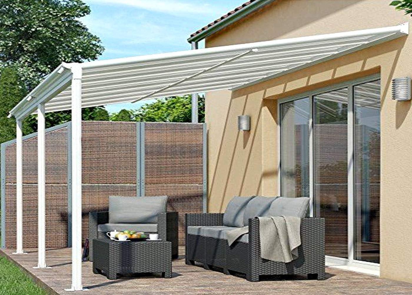 osoltus - Cubierta de aluminio para terraza, color blanco: Amazon.es: Jardín