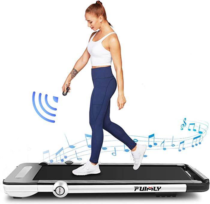 Folding Treadmill, 2-in-1 Under-Desk Treadmill for Home, Office, Gym. Compact Jogging/Running Machine with Remote Control, Bluetooth Speaker and LED Display,No Assembly Needed