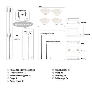 Homfa Estanterías de baño Estanteria Ducha triángulo Altura Ajustable 97-310cm 4 Niveles Gran Capacidad con Barra de Toalla (Estanteria Ducha) (Estante ...