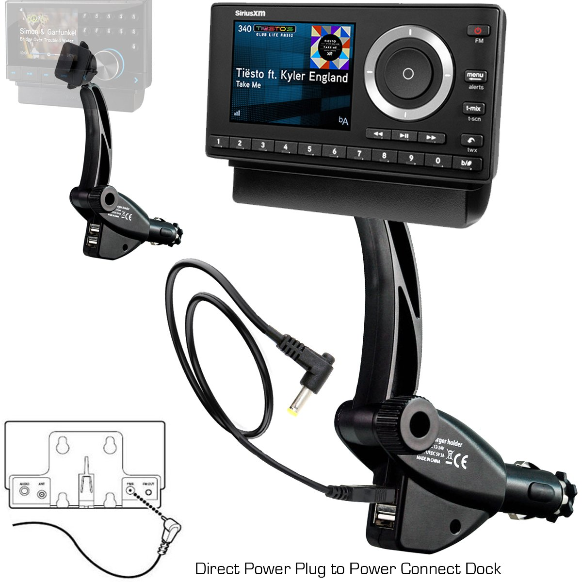 ChargerCity Dual USB Sirius XM Satellite Radio Lighter Socket Car Mount w/Tilt adjust & PowerConnect Power Cable Adapter for Onyx Lynx Edge Plus EZ Stratus Starmate Xpress (VEHICLE DOCK NOT INCLUDED)