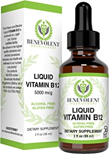Vitamin B12 Liquid Drops Formula - Potent & Effective 5000 mcg per Serving with Folic Acid and Biotin Fast Absorbing Sublingual Formula - Delicious Raspberry Flavored for All Family - Gluten Free