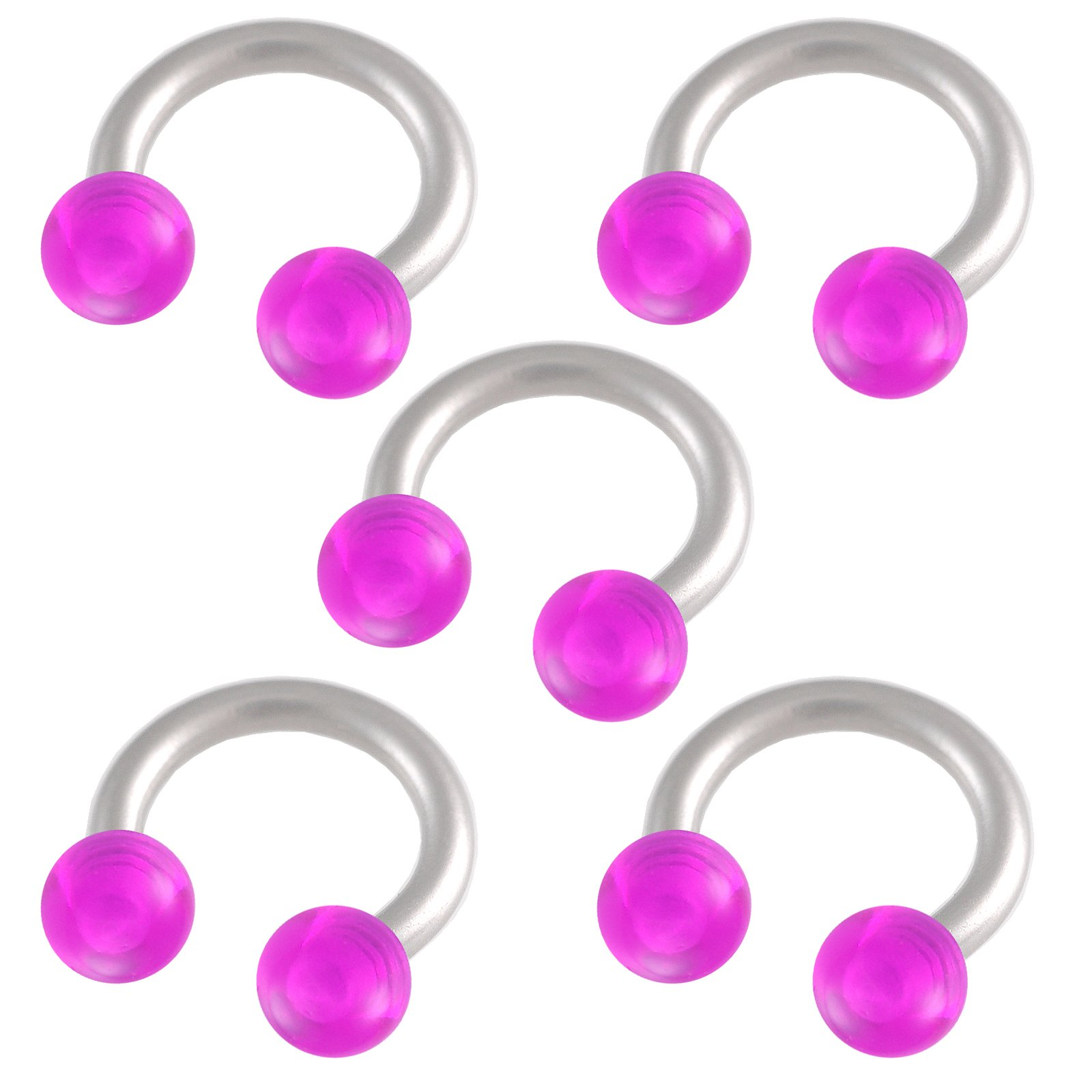 bodyjewellery 16g 16 gauge 1.2mm 1/4 6mm steel circular barbell horseshoe bar ring lip tragus studs eyebrow AUTI 5Pcs