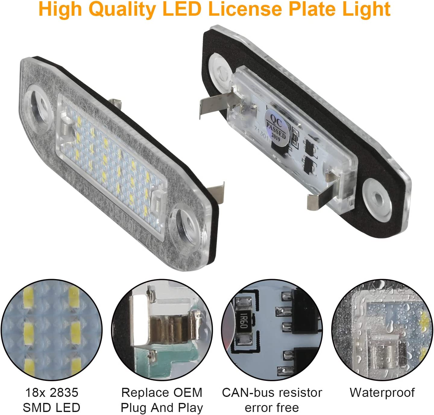 Feux de plaque dimmatriculation OZ-LAMPE 2pcs 18 Feux de plaque dimmatriculation /à LED 2835 SMD Compatible avec VOLV-O S80 1998~2015 V70 XC60 XC70 XC90 V50 S40 C30 2006-2010 avant le lifting