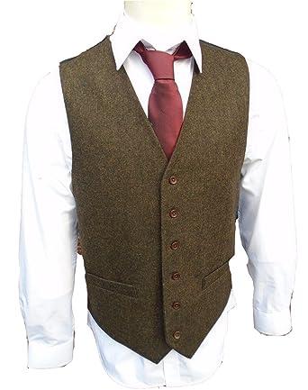 top-rated more photos big collection Brightmenyouth Brown Wool Herringbone Groom Vests Formal ...