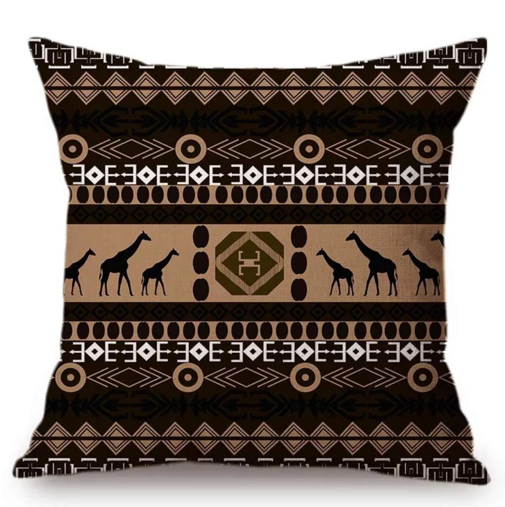 "Linara Boutique DECOR SQUARE THROW PILLOW CUSHION COVERS AFRICAN SAVANNAH SERIES, FOR COUCH, SOFA, BED, HOME DECOR, INTERIOR DESIGN, 18"" X 18"" (45CM X 45CM) (Giraffe)"