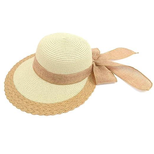 ec53a8418 Women's Wide Brim Ribbon Bow Small Back Straw Floppy Sun Hat for ...