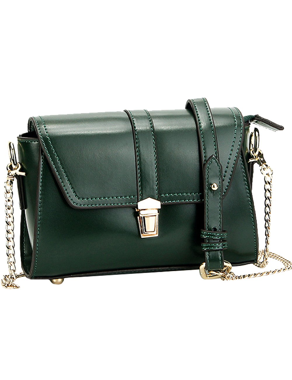 Menschwear Womens Genuine Leather Cross-body Bag Green