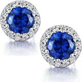 ZowBinBin Sterling Silver Round Cut Cubic Zirconia Stud Earrings,Halo Earrings - 3 Color (Red,Blue,White)