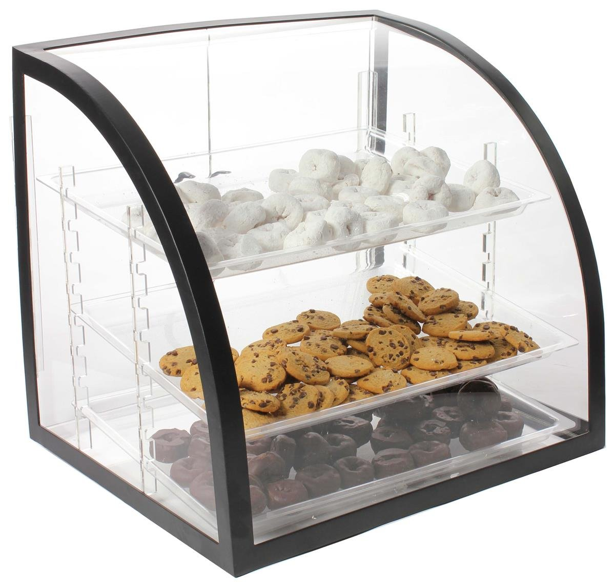 Countertop Bakery Display Case, Clear Acrylic With Black Metal Frame, Rear-loading Doors And 3 Removable Trays - 18 x 19-1/2 x 16-1/2-Inch by Displays2go