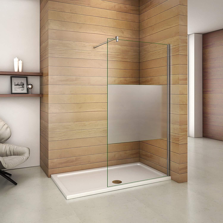 100x200cm Walk in Duschwand Duschtrennwand 8mm Easy-clean Nano Glas Duschabtrennung mit 140cm Stabilisierungsstange