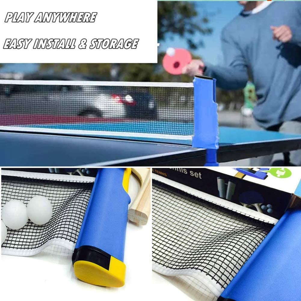 Office Anywhere Retractable Table Tennis Nets with 3 Balls and 2 Bats Retractable Net for Kids Adults Indoor//Outdoor Game Fits School Office Sports Club na Portable Ping Pong Sets Home