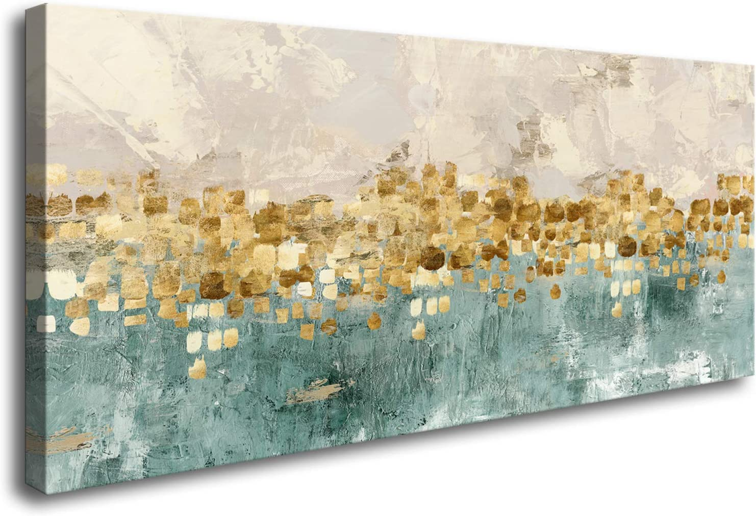 DZL Art A74650 Brown and Blue Abstract Painting Modern Decor Wall Art Tan Color Canvas Gray Painting Contemporary Decor Abstract Canvas Living Room Art Painting
